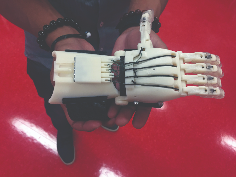 Anatomical hand designed and 3D printed by QCC mechanical engineering student Kevin Hernandes.