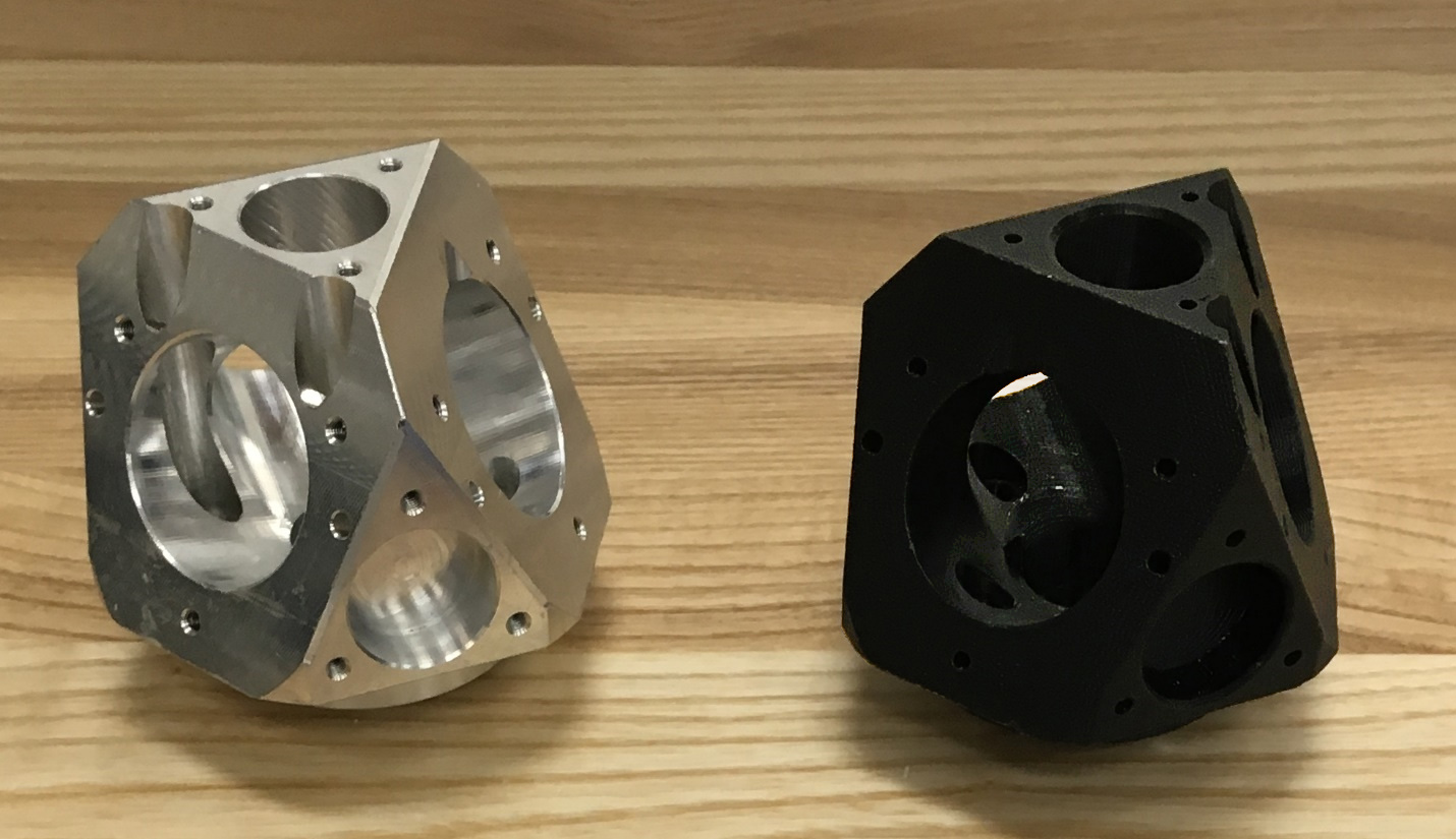 CNC (aluminum) on the left, 3D printed (plastic), right.
