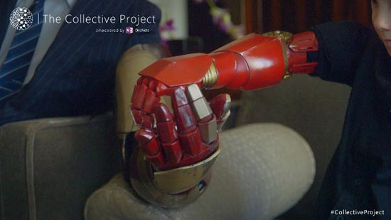 The 3D printed Iron Man hand shake seen around the world with Alex Pring and Robert Downey Jr, photo courtesy Microsoft's OneNote #CollectiveProject