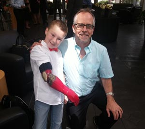 Alex Pring proudly displaying his world famous 3D printed Iron Man arm, with Michael Swack, Marketing Manager, Stratasys at the University of Central Florida
