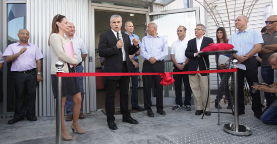 Cutting the ribbon at Stratasys' expanded Kiryat Gat facility, the major manufacturing and assembly site for PolyJet-based 3D printers, were Israel's Minister of Finance, Mr. Yair Lapid, and Kiryat Gat's Mayor, Mr. Aviram Dahari